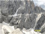 Croda Rossa di Sestona Poti alpinov-Strada deghli Alpini je še kar nekaj snega