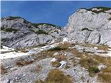 Kalška goraOd tukaj se odločimo za markirano pot pod stenami Kalškega grebena, ali pa za naravnost navzgor na greben