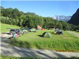 Mont Blanc / Monte BiancoKemp v Les Houchesu .... res po ceni, vse skup smo plačali Eur 20 po osebi za 4 dana auta in šotora, pa eno spanje