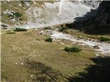 Slovenske planine v vseh letnih časihV levo se nadaljuje v manjše prodišče, kjer ponikne izvir.