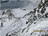 Mont Blanc / Monte BiancoPogled nazaj na Tete Rousse in kamping plac ....