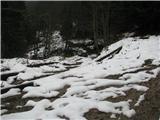 Slovenske planine v vseh letnih časihGozdna cesta, ki pelje na Rakeževo planino-sneg na cesti.