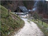 Slovenske planine v vseh letnih časihSpust do prve hiše v Zgornjem Podjelju.