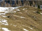 Slovenske planine v vseh letnih časihBrežina pod planino nima snega.