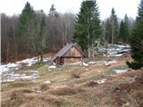 Slovenske planine v vseh letnih časihTudi pozimi so objekti pripravljeni za bivanje . Drva so pripravljena.