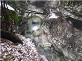 Slovenske planine v vseh letnih časihMostnica že tu tvori korita in prijetne tolmunčke.