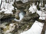 Slovenske planine v vseh letnih časihPritok Mostnice tvori luštna majhna korita in tolmunčke.