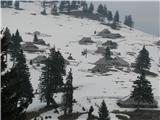 Slovenske planine v vseh letnih časihPogled na desni del planine z nasprotnega brega , te stanove prve zagledamo, ko pridemo na planino.