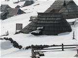 Slovenske planine v vseh letnih časihStan muzej-Preskarjeva bajta.