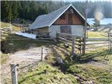 Slovenske planine v vseh letnih časihPred hlevom na planini.