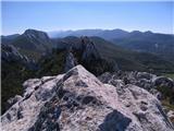 Srednji VelebitPogled s vrha Kize, desno dolje Kuk od Pećica, levo zadaj Kuk od Karline plane (1334 m)