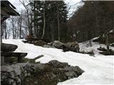 Slovenske planine v vseh letnih časihSneg okoli koče je že pobralo.