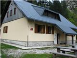 ZelenicaKoča pri izviru Završnice je bila celo odprta.