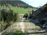 Slovenske planine v vseh letnih časihSamo s planine Jezerce je malo klančka , drugače poteka po ravnem.