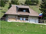 Slovenske planine v vseh letnih časihLevo v hrib pa se začnejo počitniške hišice . Ta je nekako na sredini.