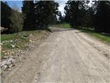Slovenske planine v vseh letnih časihTako nekako se zavije z glavne makadamke na desni makadamsko cesto k objektom na planino.