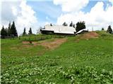Slovenske planine v vseh letnih časihOddaljujem se od koče in grem proti zgornjemu delu pašnika v smeri sedla.