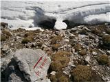 Veliki vrh, DleskovecMarkiran odcep za Ravne je še globoko pod snegom