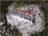 Monte Pisimoniv bližini pa na skali napis Roveredo, ampak do tam je še daleč