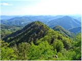 Polhograjska GrmadaNa vrhu,pogled na prehojen greben,desno Sv.Lovrenc