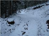 Slovenske planine v vseh letnih časihZačetek poti pri žagi.