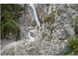 Slovenski slapovi vodotokov Potrebno je nekako priti na desni breg prek mokrih skal in kar velike vode,da ga končno zagledamo v vsej svoji veličini.