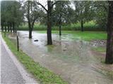 Vreme, vremenska napoved, nevarnost...Poplavljena brežina in cesta