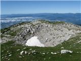 Kalški grebenPod vrhom v kotanji še ostanek zime