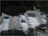 Gorska obeležja NOBspominske plošče pod plezalno potjo na Stol (im Vinkel)