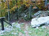 Briceljknadaljevanje poti od lovske koče pod skalami in navzgor