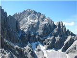 Croda Rossa di SestoElfer/Cima Undici -pogled z vrha nad sedlom Wurzbach