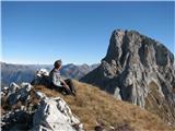 Creton di Tul (2287) in Creta Forata (2462)za vrha pogled na sosednjo Creto Forato