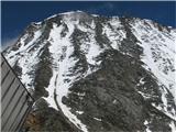 Mont Blanc / Monte Biancopogled od koče tete Rose proti steni, na katerem robu stoji kole Le Gouter 3800m