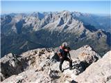 Monte Pelmo (3168)globoki pogledi na zahodna in severna ostenja, pred kratkim se je tam zadaj odvila velika tragedija