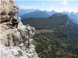 Monte Pelmo (3168)z gozdom porasel hrib desno spodaj Monte Pena