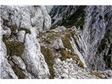 izpostavljena polička po kateri obhodimo grebenski skok (krasen prehod!)