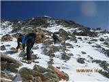 Mont Blanc / Monte BiancoVsak tolko pa prehitiš kakšno vezano k... (pardon, klijenta) ki se vleče gor na vse štiri ... zadaj gor je pa stari Gouter ....