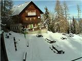 Snežne razmere 10.11.2016Slika spletne kamere pri Domu na Peci. Vir: http://www.pdmezica.si/spletna_kamera_peca.htm