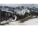 Snežne razmere v gorah 14.4.2017Slika spletne kamere na Voglu. Vir: http://www.bohinj.si