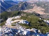 Creta di Rio Secco (2203)spodaj so me čakale plantaže rušja, a sem se jim izognil po desni
