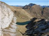 Creta di Timau in Cima Avostanisjezero ledvička in levo od nje plezalna stena s številnimi opremljenimi smermi